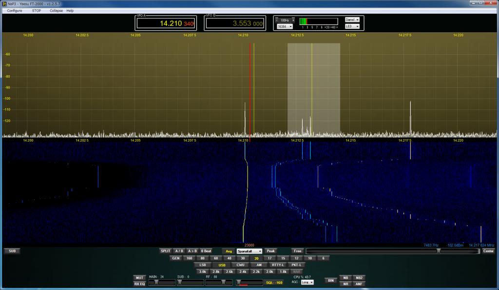 同じ20mバンドのSDR画面キャプチャとは思えないほど静か