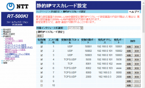 RS-BA1のルーター設定例 192.168.0.101がRS-BA1サーバ