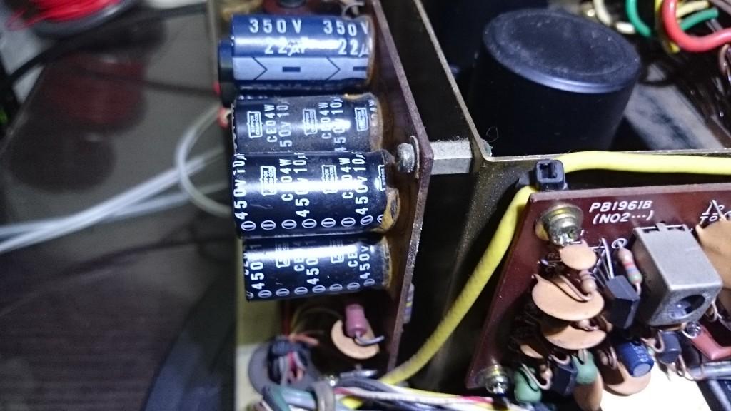電解コンデンサー液漏れ・破裂を確認