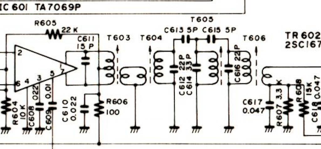 ミキサー段後ろの結合/トラップ・トランス群 確かに「やり過ぎ」かも? T604が基板にない(汗)